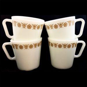 PYREX Butterfly Gold Style 1410 300 ml 4 Mug Set
